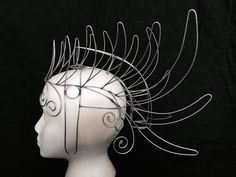 A unique three dimensional Samba Majestic Mohawk Headdress Wire Frame Design - light weight form is custom-made by the seller from sturdy/galvanized
