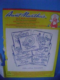 Aunt Martha's Hot Iron Embroidery Transfers Fine Chinaware #3764 Crafts Vintage #AuntMarthas