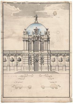 A preliminary design as a portal pavilion from 1712/1713: Pöppelmann's second preliminary draft for the Kronentor. Dresden, Saxony