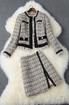 """- Set """"Chanel"""" 2 pieces 1 set, Jacket and Skirt, Haute Couture - Mater . - – Set """"Chanel"""" 2 pieces 1 set, Jacket and Skirt, Haute Couture – Material: wool mix Wes - Classy Outfits, Cool Outfits, Casual Outfits, Fashion Outfits, Womens Fashion, Petite Fashion, Curvy Fashion, Fashion Fashion, Runway Fashion"""