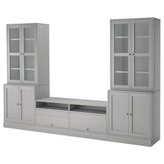 IKEA HAVSTA TV storage combination / Glass doors - home redo - Entertainment Ikea Built In, Tv Built In, Living Room Built Ins, Ikea Living Room, Bedroom Built Ins, Living Room Wall Units, Ikea Liatorp, Glass Cabinet Doors, Glass Doors