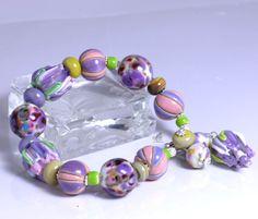 Purple flower lampwork bracelet, Lampwork Bracelet, Floral Bracelet, Handmade Bracelet, Beaded Jewelry, Ceramic Beads, Charm Bracelet
