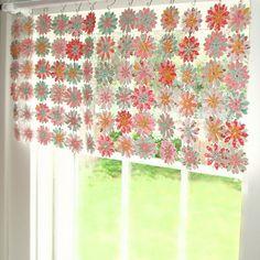 No Sew Window Valance -- paper flowers