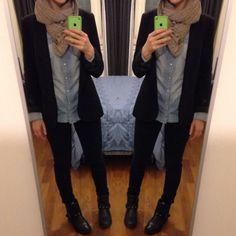 Comfort outfit  / camicia jeans #H&M , skinny jeans #Berska , giacca #Zara /
