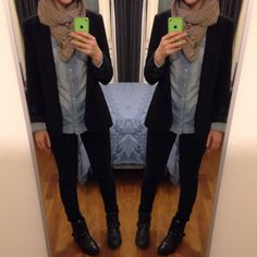 Comfort outfit  / camicia jeans #H&M , skinny jeans #Berska , giacca #Zara /