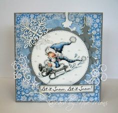 - Moni´s creative place: Let it Snow, Let it Snow! Fall Cards, Winter Cards, Xmas Cards, Holiday Cards, Diy Cards, Penny Black Karten, Penny Black Cards, Handmade Christmas, Christmas Crafts