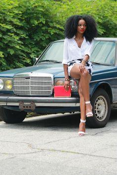 Mercedes - Benz W 123 & beautiful woman - http://curly-essence.tumblr.com/
