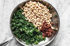 Sun Dried Tomato, Kale, and White Bean Skillet - Budget Bytes Healthy Lunches For Work, Work Lunches, Bag Lunches, School Lunches, Bean Recipes, Vegetarian Recipes, Healthy Beans, Healthy Food, Slow Cooker Black Beans
