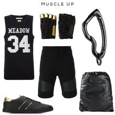 Muscle Up mens fashion set Clockwise: Tank top by Off-White, 'Armor' gloves by Majesty Black, Arcus carabiner keychain by SVORN, Drawstring bag by Henten, Track shorts by Neil,  Barrett, Sneakers by Just Cavalli  #mens #fashion #style #black #gold #gym #accessories