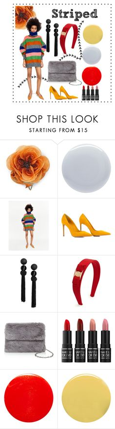 """""""Stripes"""" by madmadry ❤ liked on Polyvore featuring Gucci, Deborah Lippmann, Salvatore Ferragamo, Street Level, MAKE UP FOR EVER, Yves Saint Laurent and Lauren B. Beauty"""