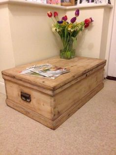 Details About Wooden Trunk, Chest, Blanket Box, Coffee Table, Antique