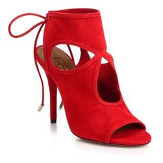 Aquazzura Sexy Thing Cutout Suede TieBack Sandals (885 RON) ❤ liked on Polyvore featuring shoes, sandals, red, suede sandals, cutout sandals, aquazzura shoes, red suede sandals and fleece-lined shoes
