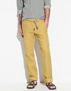 LINEN TROUSERS WITH CORD BELT - Trousers - Man - ZARA