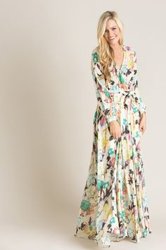 Lulu Cream Floral Maxi Dress - Morning Lavender