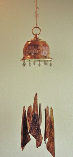 Pictures of Copper Wind Chimes   Rustic Copper Pottery and Glass Wind Chime by LumenandHue on Etsy