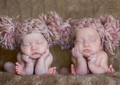 TWINS SET 2 Newborn Baby Girl Hats Crochet by chloescrochetcloset, @Staci Pokorski...OMG!