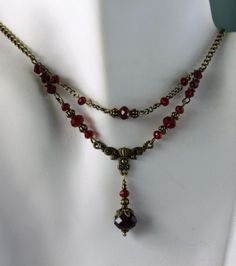 Blood Red Siam Crystals Antique Bronze Filigree Necklace Earring Set. Handmade $34.99