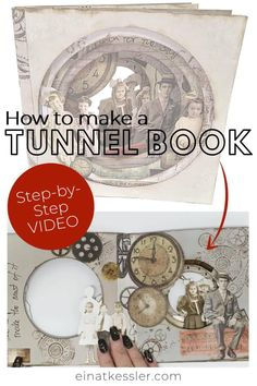 How to make a circle tunnel book with a steampunk look. Easy step by step video to make this DIY tunnel book art! Craft Projects For Adults, Arts And Crafts For Adults, Easy Craft Projects, Easy Diy Crafts, Diy Arts And Crafts, Craft Tutorials, Diy Paper, Paper Crafts, Old Book Art