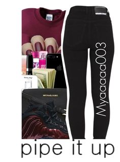 """""""I swear, my sets get worse and worse each time"""" by myaaaaa003 ❤ liked on Polyvore featuring Gildan, Lancôme, Marc Jacobs, Happy Plugs, MICHAEL Michael Kors, NIKE and Dr. Denim"""