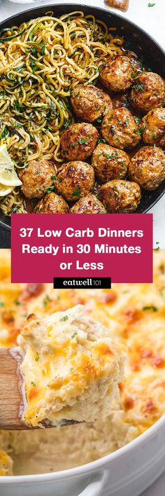 A lot of good recipes! Low Carb Recipes Ready in 30 Minutes or Less - If you're trying to cut carbs while feeding a family, these quick low carb recipes are the answer! Low Carb Dinner Recipes, Diet Recipes, Healthy Recipes, Best Keto Meals, Diabetic Recipes, Cookie Recipes, Recipies, Bariatric Recipes, Bariatric Eating