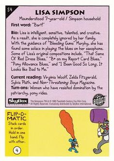 1993 SkyBox The Simpsons #S4 Lisa Simpson | Trading Card Database Pet Peeves, Trading Card Database, The Simpsons, Trivia, Slogan, Lisa, Let It Be, Words, Collector Cards