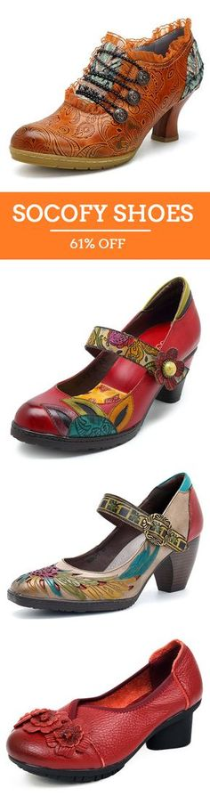 UP TO 61% OFF! SOCOFY Plus Size High Quality Handmade Vintage Shoes and Heel. SHOP NOW!