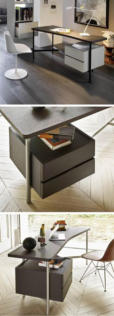 Der Moderne Schreibtisch Desk überzeugt Mit Seinem Leichten Stahlgestell,  Für Mehr Stauraum Kann Der Schubladen