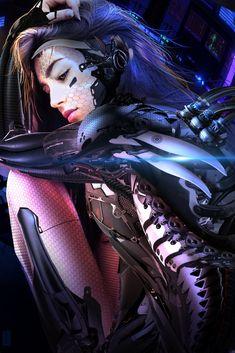 By Shai Daniel (artist by ArtStation). Cyberpunk Rpg, Cyberpunk Girl, Cyberpunk Aesthetic, High Fantasy, Fantasy Girl, 3d Character, Character Concept, Manga Cover, Fille Anime Cool