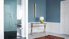 The Apartment Copenhagen | Tina Seidenfaden Busck | Est Magazine ( I love the extra wide sea blue subway tiles )