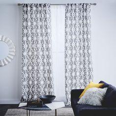 Cotton Canvas Diamond Trellis Curtain - Platinum | West Elm $39