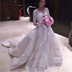 Luxury IIIusion Crew Neck Muslim Wedding Dresses Detachable Train 2016 Full Sleeves Lace Appliqued Tulle Beaded Bride A Liine-in Wedding Dresses from Weddings & Events on Aliexpress.com | Alibaba Group