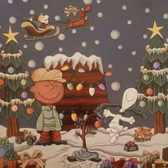 Charlie Brown and Snoopy Peanuts Christmas, Noel Christmas, Winter Christmas, Charlie Brown Y Snoopy, Charlie Brown Christmas, Disney Vintage, Snoopy Pictures, Disney Cross Stitch Patterns, Snoopy And Woodstock