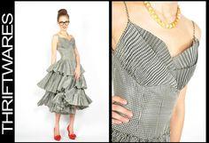 Vtg 50s Black + White HOUNDSOOTH PLAID TIERED RUFFLE Shelf FULL SKIRT Dress XS   eBay