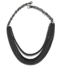 This necklace is 16 3/4 inches long for the shortest chain and fits like a bib necklace.