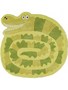 Kinderteppich Crocodile Grün ø 90 cm rund