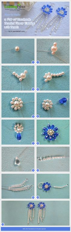 A Pair of Handmade Beaded Flower Earrings ~ Seed Bead Tutorials