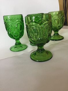 Set Of 4 MOON AND STAR GREEN GLASS GOBLETS - 3 Mold in Pottery & Glass, Glass, Glassware | eBay