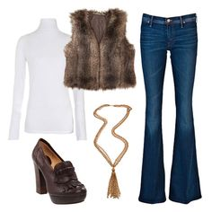 Add luxe layers.  Start with wide-legged jeans, and layer up with a fitted white turtleneck and a cropped faux fur vest, then add a pendant necklace and platform loafers.