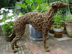 Willow Domestic Animal sculpture by #sculptor Emma Walker titled: 'Lurcher (Dog Hound Willow Standing life size Sculptures)' £384 #sculpture #art