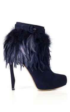 Nicholas Kirkwood Suede Feather Bootie in Navy (though it looks purplish), $1390