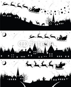 Vector: Set of christmas silhouettes.