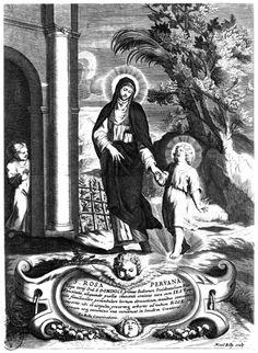 Muestra a Santa Rosa paseando de la mano con el Niño Jesús por un huerto. Grabado al buril de Nicolás Billy.
