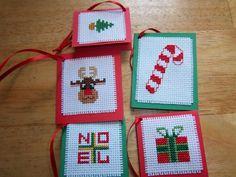 Christmas gift tags Cross Stitch Christmas Cards, Xmas Cross Stitch, Cross Stitch Cards, Cross Stitch Alphabet, Christmas Gift Tags, Christmas Cross, Cross Stitching, Cross Patterns, Counted Cross Stitch Patterns