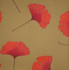 Biloba Orange Wallpaper by Marimekko - modern - wallpaper - Textile Arts