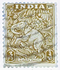 India elephant postage stamp