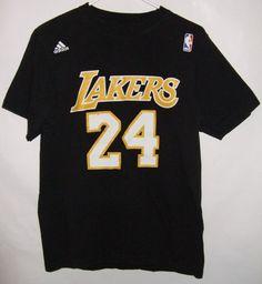 Vintage KOBE BRYANT # 24 LA LAKERS ADIDAS NBA T SHIRT Jersey Size Medium Mens #adidas #LALakers