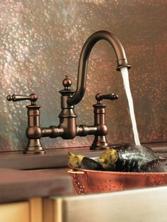 Buy the Moen Wrought Iron Direct. Shop for the Moen Wrought Iron Waterhill High-Arc Kitchen Faucet with Side Spray and save. Black Kitchen Faucets, Bronze Kitchen, Traditional Kitchen Faucets, Faucet Kitchen, Kitchen Hardware, Cute Kitchen, Kitchen And Bath, Kitchen Ideas, Bistro Kitchen
