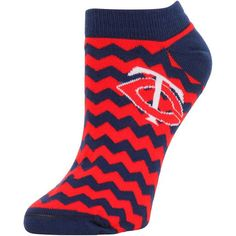 Minnesota Twins Women's Chevron Striped Socks - Navy Blue/Red