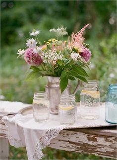 lace : romantic : simple : shabby : rustic : centerpiece : mason jars