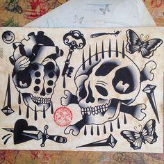 One More Week, One More Sheet. All Available. #tattoo #tattooflash #flash #flashoftheday #flashoftheages #traditional #traditionaltattoo #traditional_tattoo #tattoosandflash #tattooflashswamp #germantattooers #besttradtatts #besttradtattoos #bestblacktraditional #black #blackworkers #tattooart #tattooworkers #darkartists #xmarcox #kassel #hardcoreink #skull #love #butterfly #nails #key #rainingblood